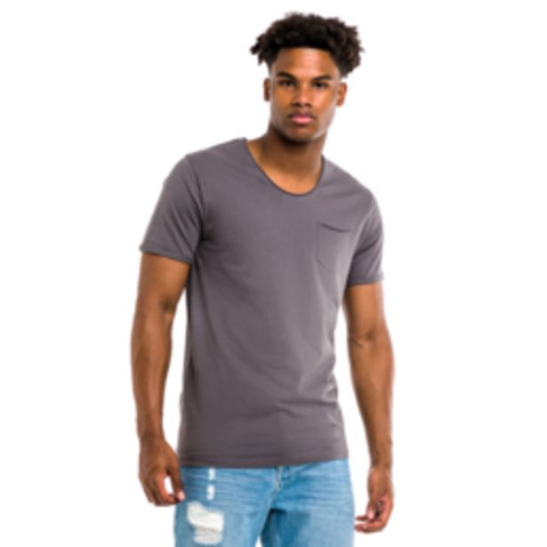 Mkm Curved V-Neck T-shirt Charcoal offers at R 120
