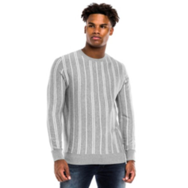 Vertical Striped Crew Neck Sweater Grey offers at R 260