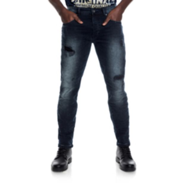 RJ Slim Fit Blue & Black Rip & Repair Jeans offers at R 699