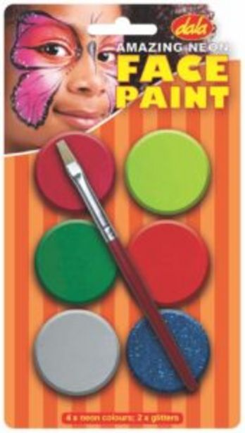 Dala Neon Face Paint Kit 10ml x 6 with Brush offers at R 80