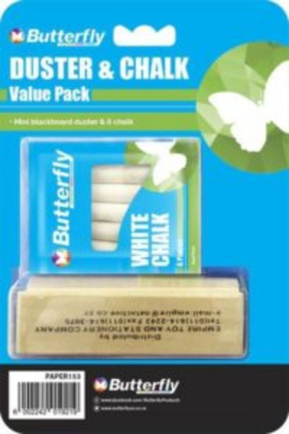 Butterfly Mini Blackboard Duster and 6 Piece Chalk offers at R 50