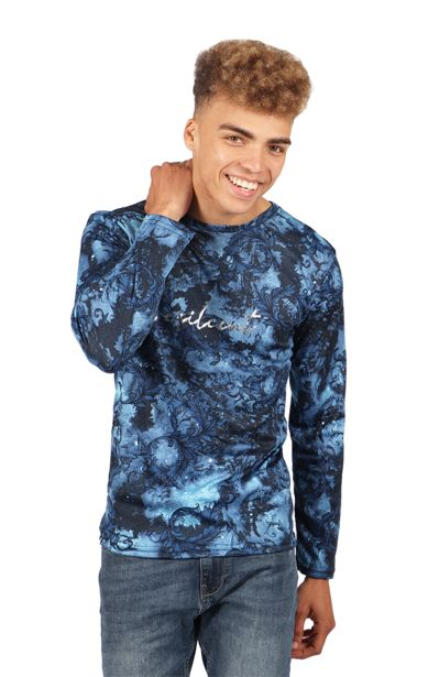 Printed Long Sleeve T-Shirt - Blue offers at R 63,75