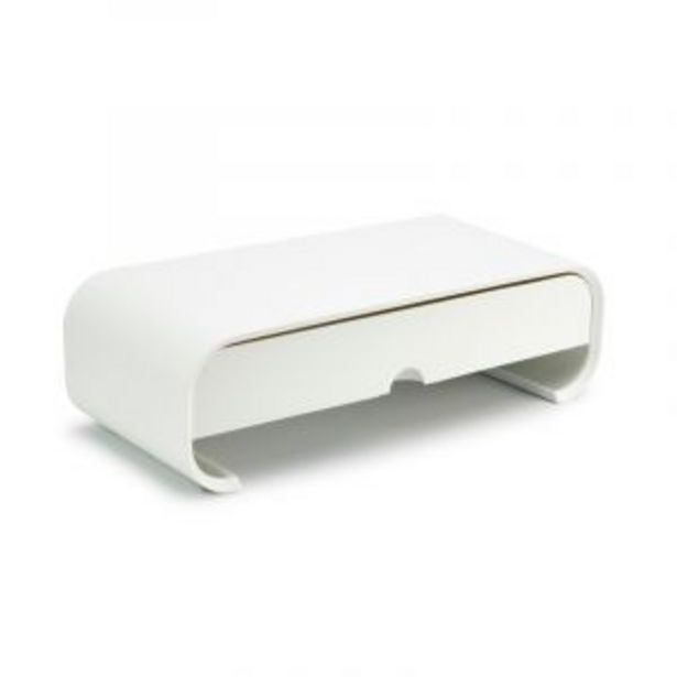 Monitor Stand with Drawer, White offers at R 369