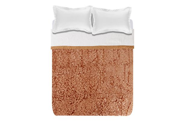 Sharon 2-ply 3.5kg embossed sherpa blanket - Coffee offers at R 999,99