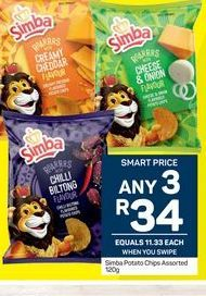 Simba Potato Chips 3 offers at R 34