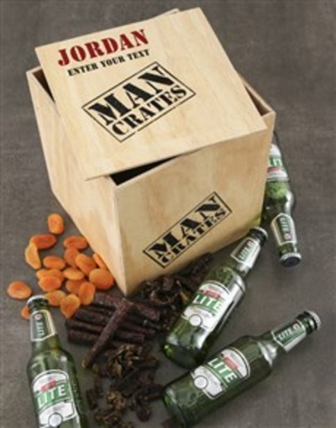 Personalised Drink and Snack Man Crate offers at R 650