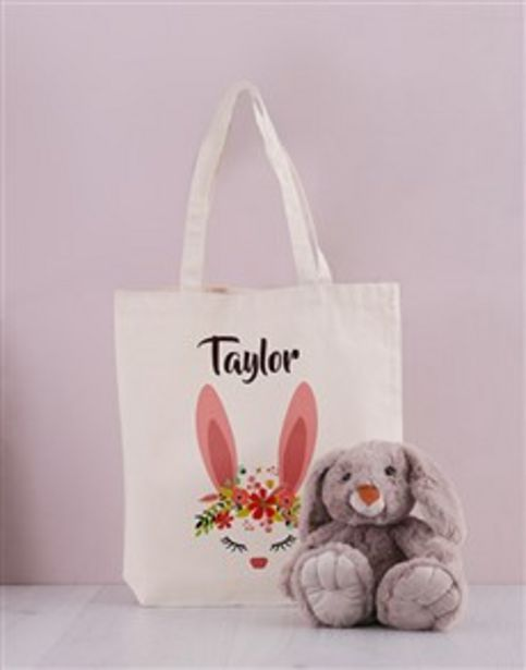 Personalised Floral Bunny Tote Bag offers at R 559