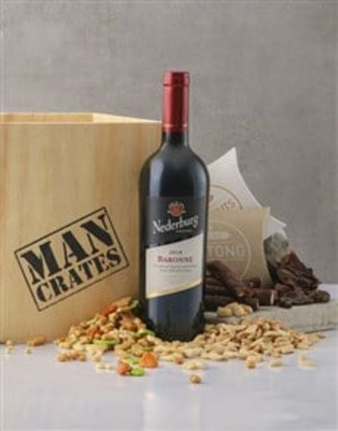 Red Wine Biltong & Nuts in a Man Crate Box offers at R 611