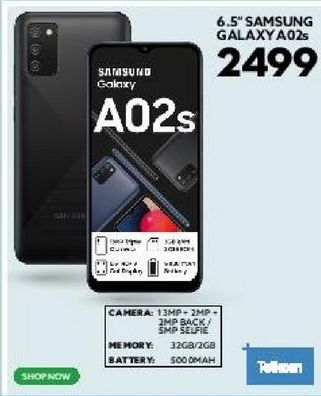 """6.5"""" Samsung Galaxy A02s offers at R 2499"""