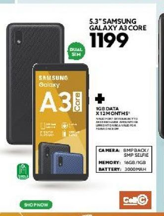 """5.3"""" Samsung Galaxy A3 core offers at R 1199"""