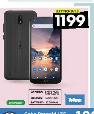 """5.71"""" Nokia 1.3 offers at R 1199"""