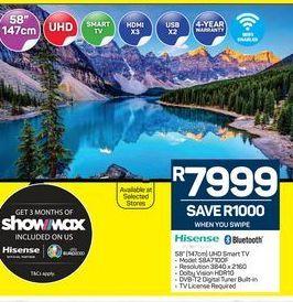 "Hisense 58"" HD Ready TV offers at R 7999"