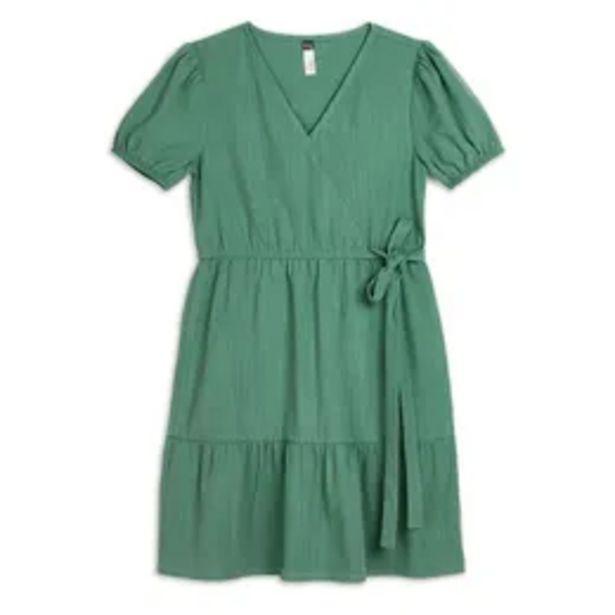 Linen wrap dress sage offers at R 169,95