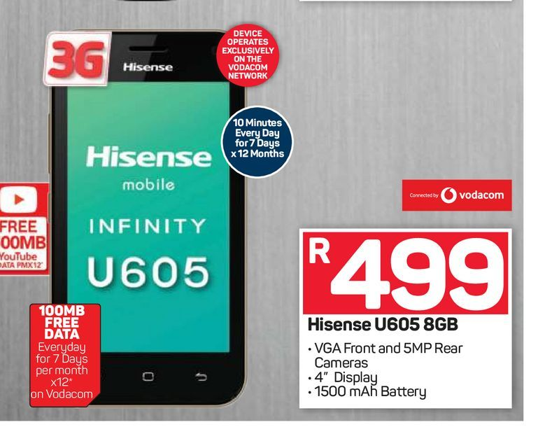 Hisense U605 Smartphone offers at R 499