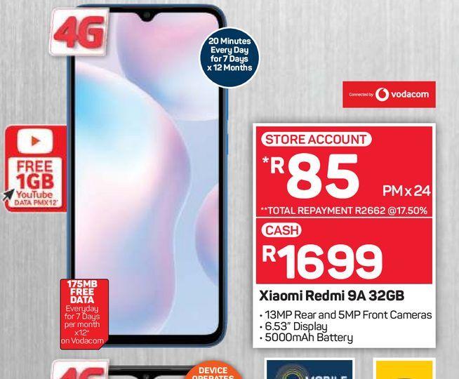 Xiaomi Redmi 9A offers at R 1699