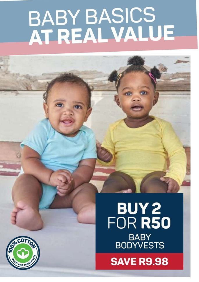 Baby Bodyvests 2 offers at R 50