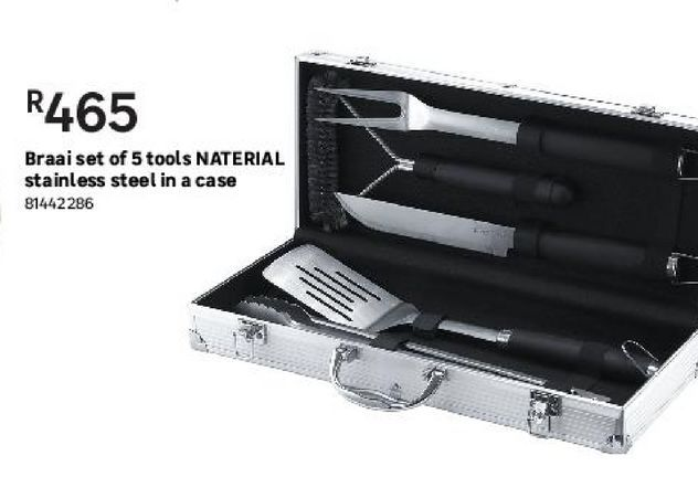 Braai set of 5 tools NATERIAL stainless steel in a case offers at R 465