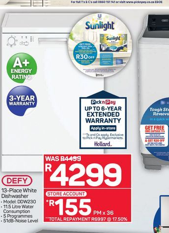 Defy dishwasher  offers at R 4299