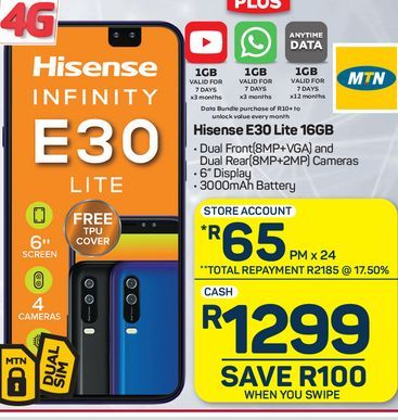 Hisense E30 Smartphone offers at R 1299