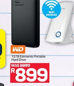 WD 1.5TB Portable Hard Drive  offers at R 899