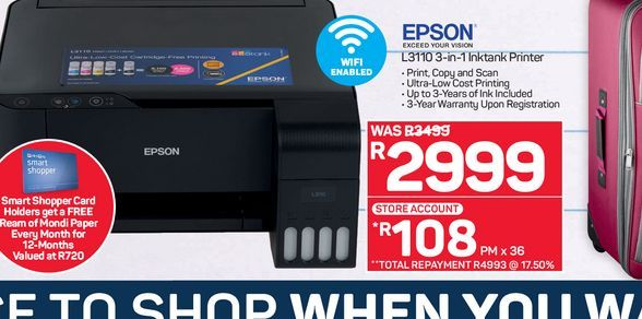 Epson 3-in-1 Inkjet Printer  offers at R 2999