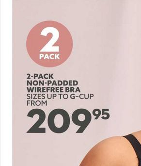 2-pack non-padded wirefree bra offers at R 209,95