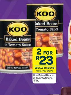 KOO Baked Beans in Tomato Sauce 2 offers at R 23