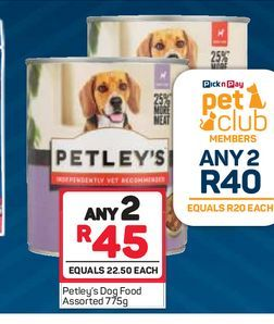 Petley's dog food  2 offers at R 40