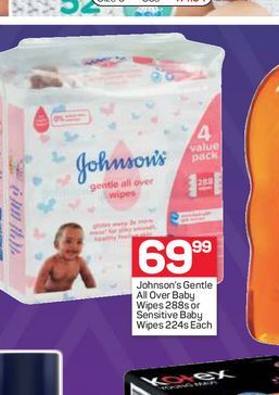 Johnson's Baby Wipes offers at R 69,99