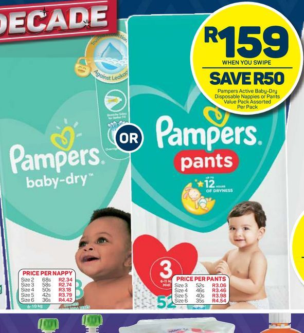 Pampers Disposable Nappies offers at R 159