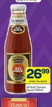All Gold Tomato Sauce  offers at R 26,99