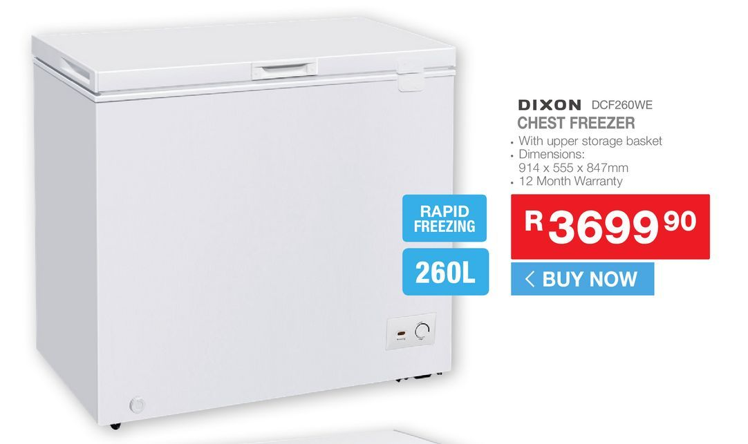 Dixon DCF260WE chest freezer offers at R 3699,9