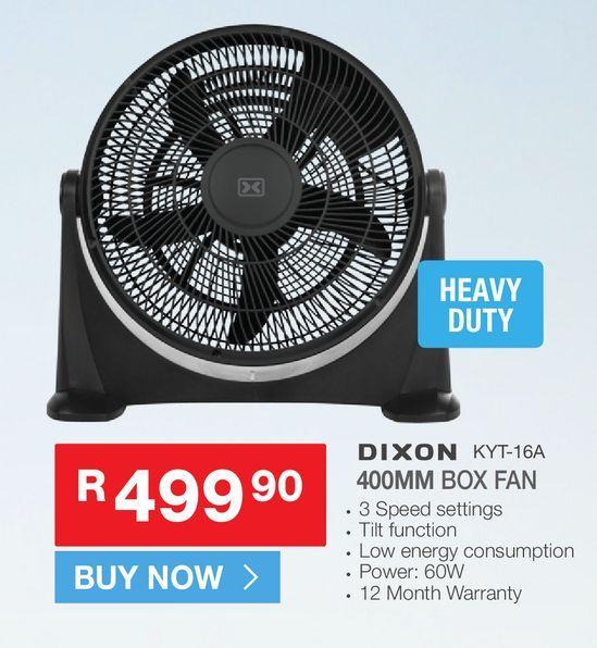 Dixon kyt-16A box fan offers at R 499,9