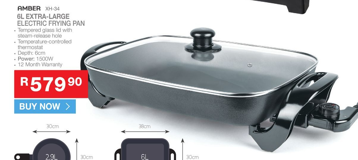 AMBER XH-34 6L extra- large electic frying pan offers at R 579,9