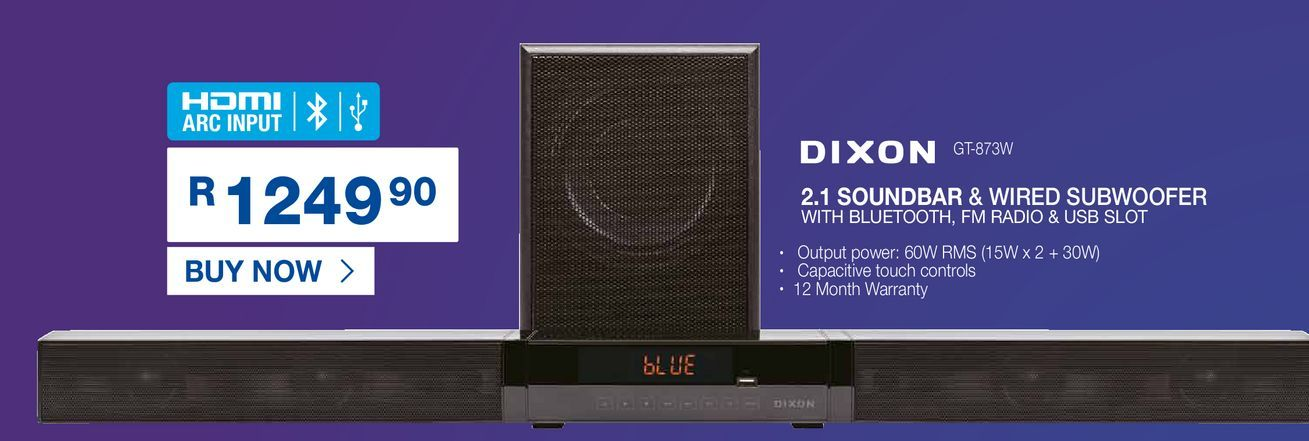 DIXON 2.1 Soundbar & wired subwoofer offers at R 1249,9