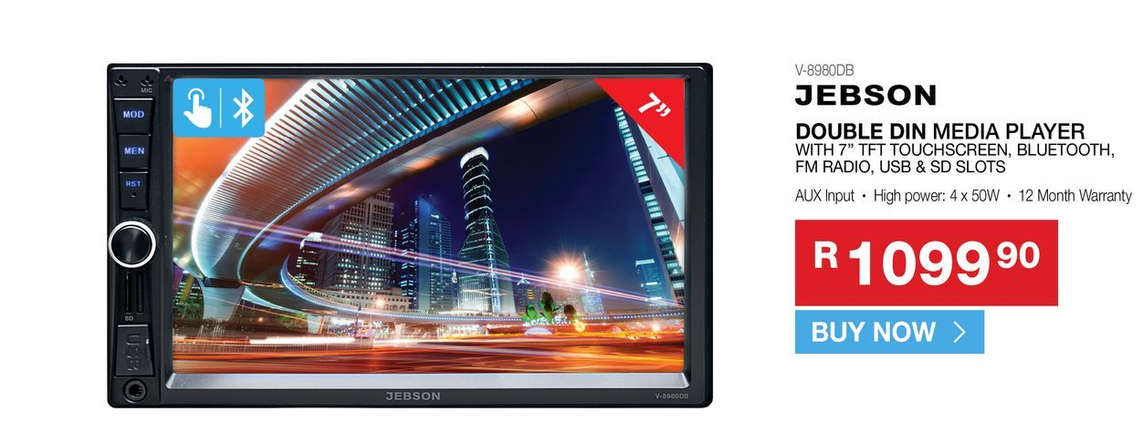 Jebson V-8980DB double din media player offers at R 1099,9