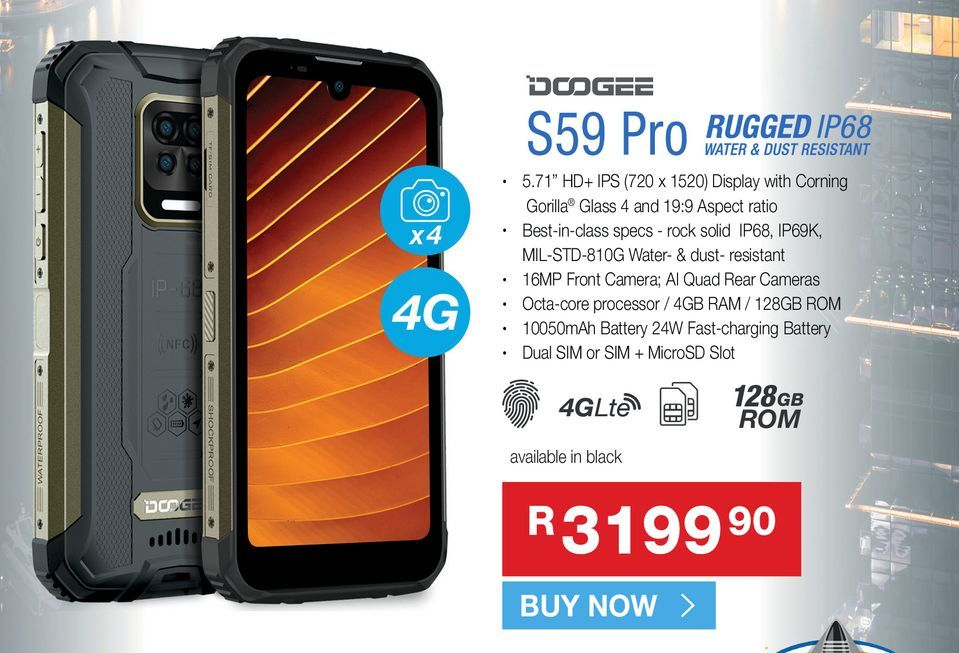 Doodge S59 Pro offers at R 3199,9