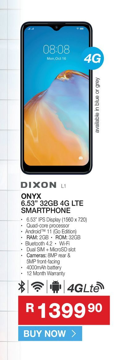 """Dixon ONYX 6.53"""" 32gb 4g LTE smartphone offers at R 1399,9"""