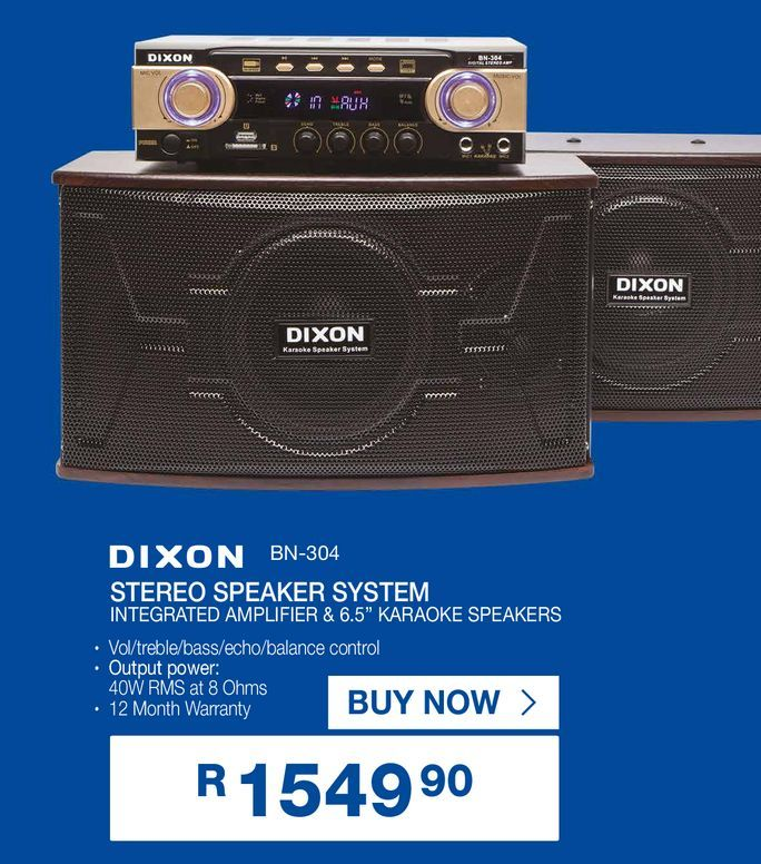 """DIXON stereo speakers system integrated amplifier & 6.5"""" karaoke speakers offers at R 1549,9"""
