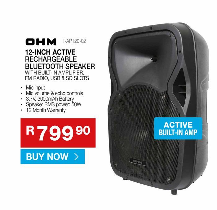 OHM 12-inch active rechargeable bluetooth speakers offers at R 799,9