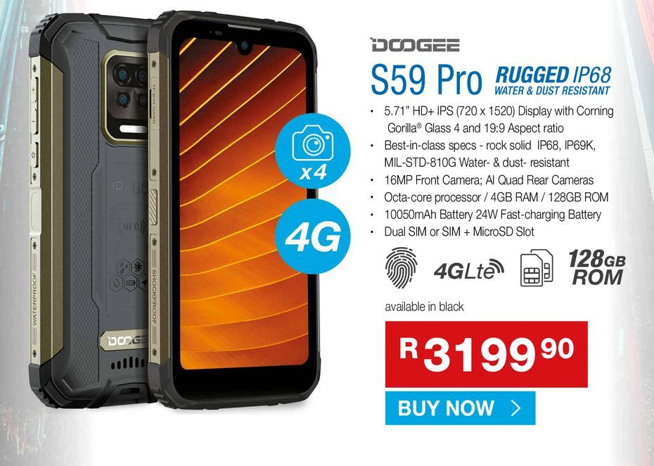 Dodgee S59Pro offers at R 3199,9