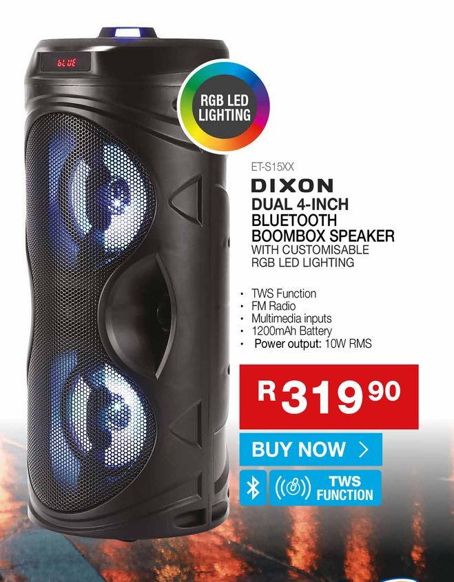 DIXON dual 4-inch bluetooth boombox speakers offers at R 319,9