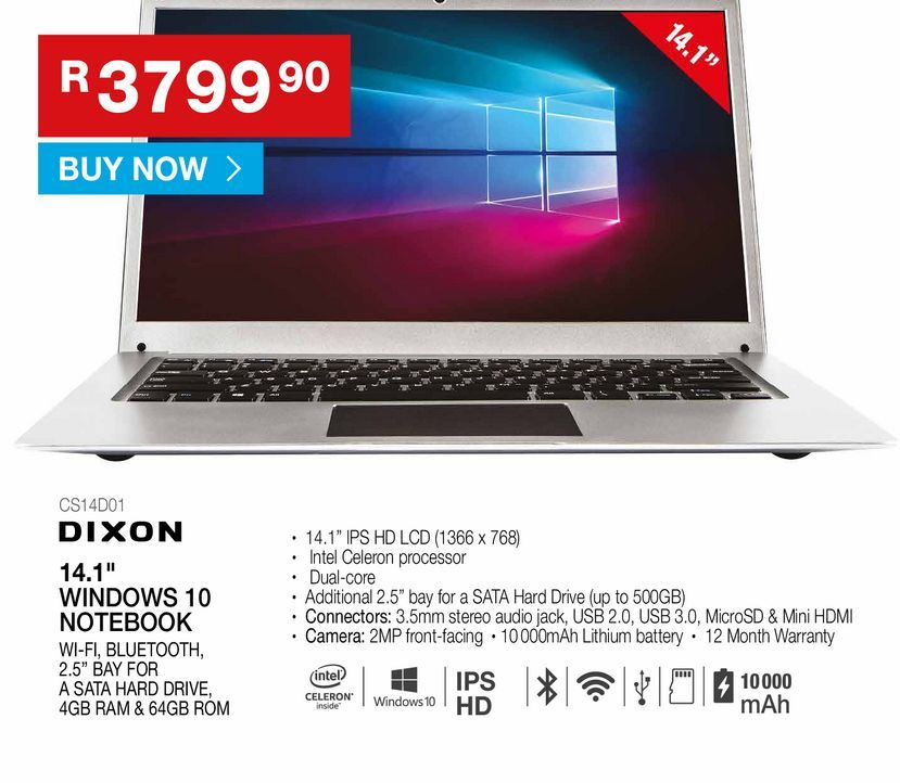 """DIXON 14.1"""" windows 10 notebooks offers at R 3799,9"""