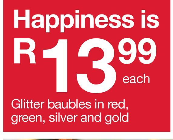 Glitter baubles in red, green, silver and gold offers at R 13,99