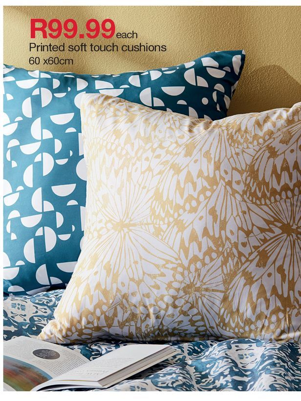 Printed soft touch cushions 60 x 60cm offers at R 99,99