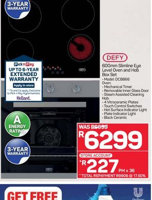 Defy Oven & Hob offers at R 6299