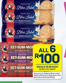 Bakers Biscuits 6 offers at R 100