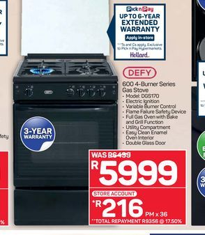 Defy Gas Stove offers at R 5999