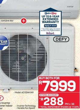 Defy air conditioner  offers at R 7999