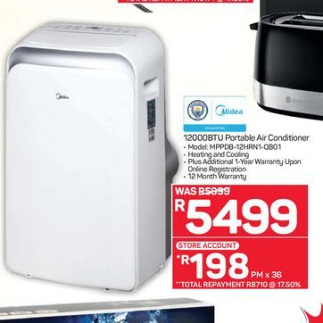 Midea air conditioner offers at R 5499